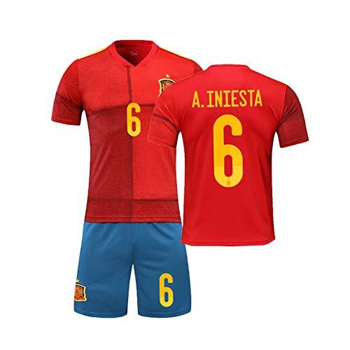 PAOFU-Europese Beker 2020 Huis Spanje Nationaal Voetbal Team 6 # Andres Iniesta Fan Voetbal Jerseys