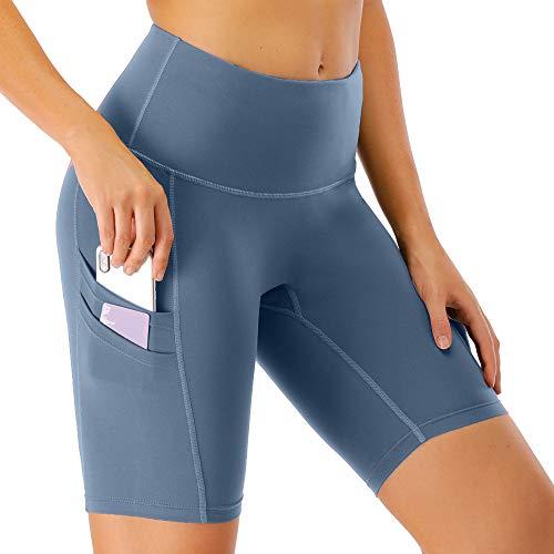 scicent Damen Kurze Leggins Running Shorts Sporthose Laufhose Sport Leggings Yogahosen Sportbekleidung mit Taschen für Sport Laufen Yoga XL
