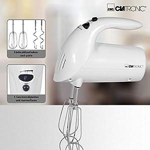 Clatronic Handmixer HM 3014 /// Edelstahlquirle & -knethaken /// 5 Geschwindigkeitsstufen /// Zubehörteile spülmaschinengeeignet /// 250 Watt /// Weiß