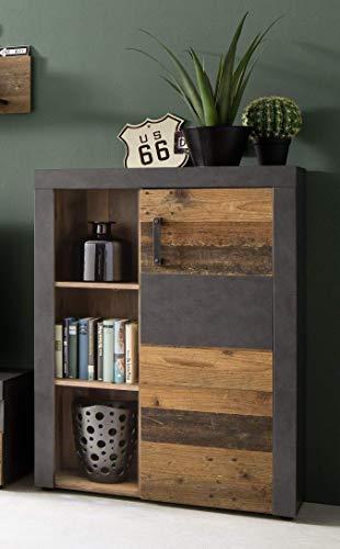 trendteam smart living Wohnzimmer Sideboard Kommode Schrank Indy, 87 x 118 x 34 cm in Korpus Graphit Grau, Front Old Wood NB mit viel Stauraum und offenem Fach