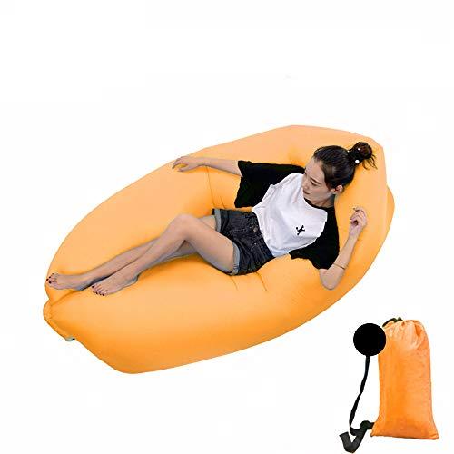 DWHJ Aufblasbare Lehnstuhl, bewegliche aufblasbare Sofa Mittagspause Rollbetten Stuhl, geeignet für Indoor Pool im Innenhof Grass Boden,Orange
