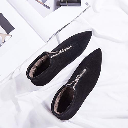 Shukun enkellaarsjes puntige laarzen vrouwelijke platte bodem herfst en winter mat plat met kaal laarzen student Martin laarzen