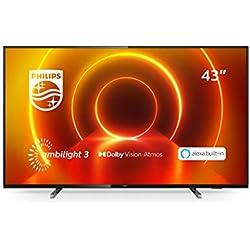Philips TV Ambilight 43PUS7805/12 43´´ 4K UHD TV LED Processore P5 Picture, HDR10+, Dolby Vision?Atmos, Smart TV, Alexa Integrata, Modello 2020/2021, Nero