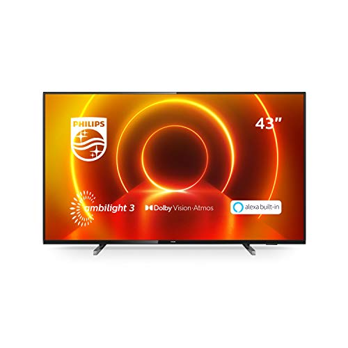 Philips TV Ambilight 43PUS7805/12 43' 4K UHD TV LED Processore P5 Picture, HDR10+, Dolby Vision∙Atmos, Smart TV, Alexa Integrata, Modello 2020/2021, Nero