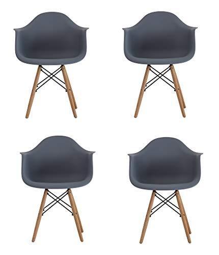 SWEETHOME Esszimmerstuhl, modernes Design, 4 Stück, mit PP und Holzbeinen, für Wohnzimmer, Küche, Lounge, Büro, Lesen (grau 4)