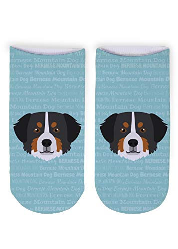 Mystic Sloth Adorable Dog Breed Specific Novelty Adult Ankle Socks (Bernese Mountain Dog)