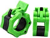 AUROR Olympic Barbell Locking Clamp Collar Clip, Suit for Diameter 2'/50mm Standard Barbells, Great for Crossfit Workouts, Overhead Press, Deadlifts and Bench Press (Green)
