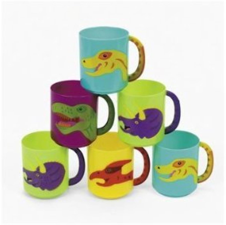 Dozen Plastic Dinosaur Mugs by FE