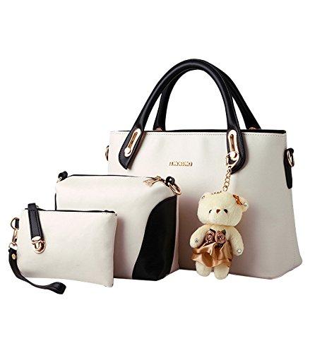 MissFox Elegante Da Donna Cerniera Design Handbag Shoulder Bag Tote Bag 3 Pezzi Beige