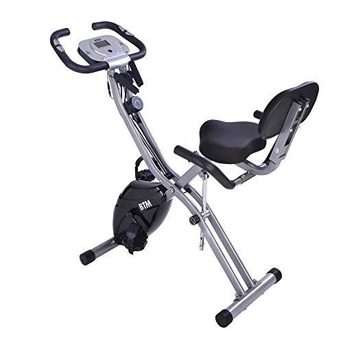 Bicicletas Estáticas Plegable con Respaldo 10 Niveles de Resistencia Pantalla LCD, Bicicleta Fitness Soporte de Smart Phone Pad Ruedas Bicicleta de Ejercicios Aeróbicos Gimnasio Casa [EU Stock]
