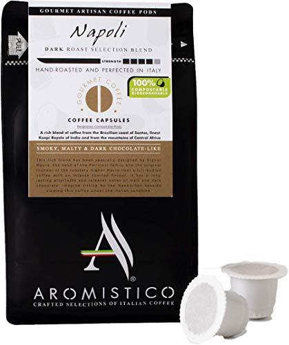 AROMISTICO | Premium Italian Coffee Capsules 100% Compostable | Napoli Blend Strong Dark Roast | Compatible with Nespresso Machines | Smoky, MALTY & Dark Chocolate-Like