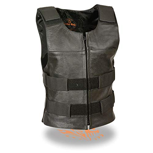 Milwaukee Leather SH1367LZ Ladies 'Bullet Proof Replica' Black Leather Vest - X-Large