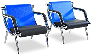 Bestmart INC PU Leather Office Reception Chair Executive Side Waiting Room Visitor Guest Sofa (Blue, 2)