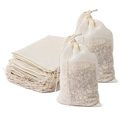 AIEVE Cheesecloth Bags, 24 Pieces 4''x6'' Reusable Cotton Cheese Cloths Nut Milk Bag Cold Brew Bags Tea Bag Spice Bags Muslin Bags Unbleached for Herbs Tea Coffee Cooking Brewing Straining