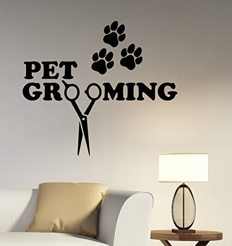 Pet Grooming Wall Sticker Vinyl Decal Window Logo Animal Decorations covid 19 (Animal Design Shop Stickers coronavirus)