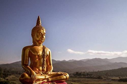 Papermoon Golden Buddha Statue Vlies Fotobehang 200x149cm 4-Banen