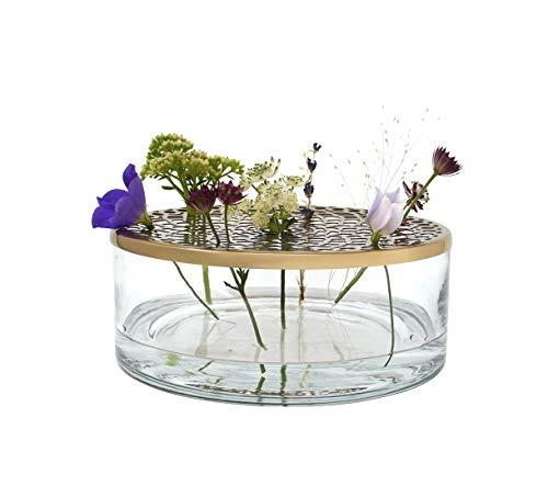 LaLe Living Vase Buket aus Eisen und Glas mit Ornament Gold, Ø 20,5 x 10 cm