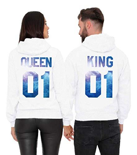 Daisy for U Pärchen Hoodie Set King Queen Pullover 1 Stücke-Queen-Weiß-Blau-S