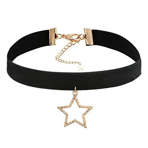 Daesar Joyería Gargantilla Terciopelo Negro para Mujer Velvet Hueco Estrella Cadena Oro Negro Chokers Necklace 31.5+8cm
