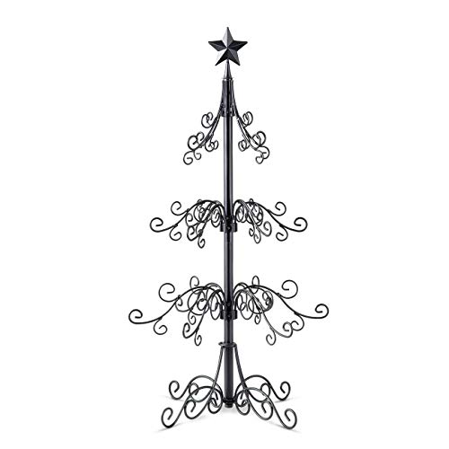 36 Inch Metal Scroll Christmas Ornament Display Trees in Black & Gold Colors