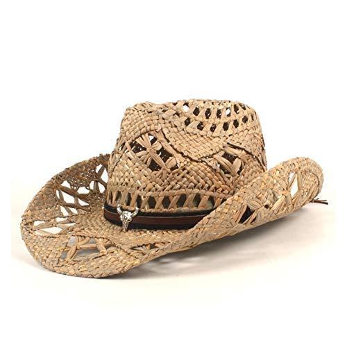 LHZUS Sombreros para mujer y hombre, tejido de paja vaquera, sombrero de vaquero con borde enrollable, sombrero de playa y protección solar (color: negro, tamaño: 56 – 58 cm)