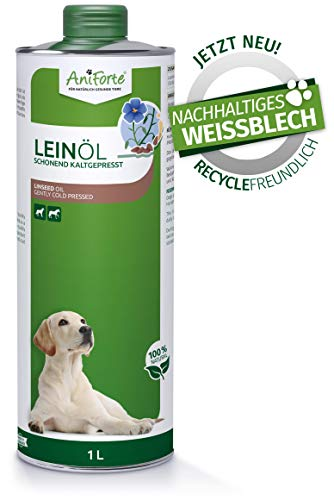 AniForte Leinöl für Hunde & Pferde 1 Liter - Kaltgepresst, Nativ, Reich an Omega 3 & Omega 6 Fettsäuren, Lein Öl Barf Ergänzung, Hochwertiges Leinsamenöl, Recyclebare Verpackung ohne BPA