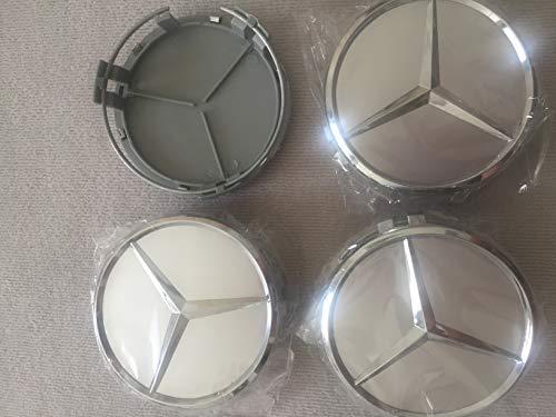 Felgendeckel Mercedes Benz 4 Stück 75mm Nabendeckel Radnabenkappen für Mercedes-Benz Felgenkappen Nabenkappen Wheel Caps Radnabenabdeckung Titansilber Ersatzteil