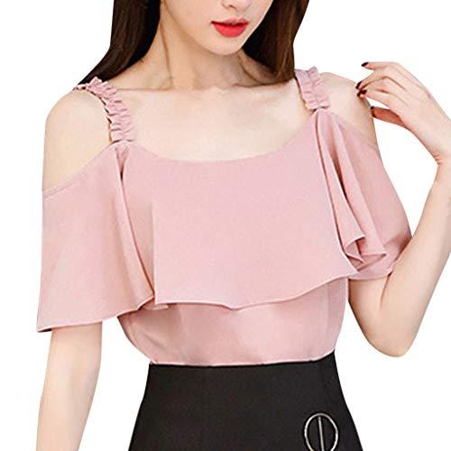 KUKICAT Frauen Chiffon Shirt Weiß Rosa Top Korean Summer Fashion Kurzarm Shirt Casual Off-Shoulder Top