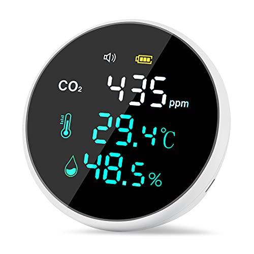 CO2-Messgerät mit Akku CO2 Temperaturanzeige und Luftfeuchtigkeitsanzeige 400-5000PPM Messbereich mit USB-Kabel