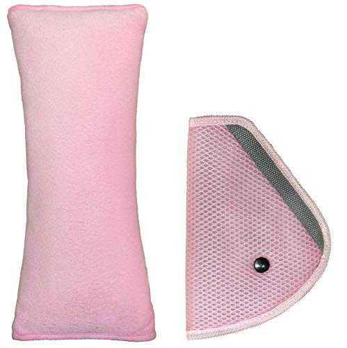 LIONSTRONG - Almohadilla infantil para cinturón - Para dormir en coches - Inocua (rosa)