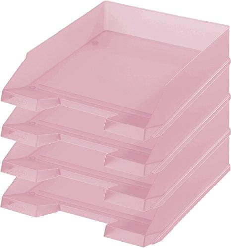 Herlitz Ablagekorb/Briefkorb/Briefablage für A4-C4, Pastell, stapelbar (4er Set in rose)