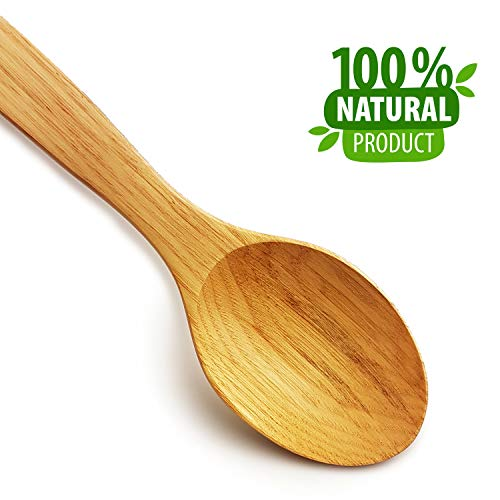 Cuchara de madera para cocinar - Cucharas de madera premium Mango ancho y largo hecho a mano 31 CM