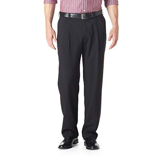 Haggar Men's Eclo Stria Expandable-Waist Pleat-Front Dress Pant Black 38x30