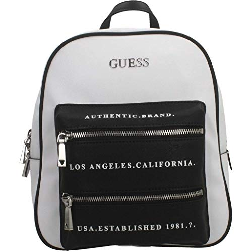 Guess Borsa zaino Caley large backpack ecopelle bianco/nero donna BS20GU156