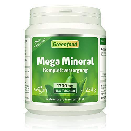 Mega Mineral, 1300 mg, hochdosiert, 100% Tagesbedarf, 180 Tabletten – alle wichtigen Mineralien und Spurenelemente. OHNE künstliche Zusätze, ohne Gentechnik. Vegan.