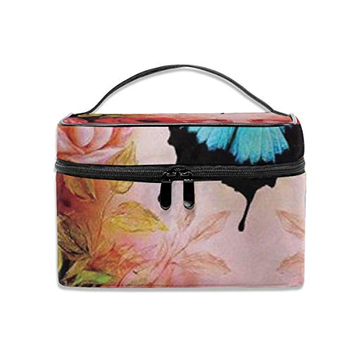 Rose Butterfly Travel Cosmetic Case Organizer Portable Artist Storage Bag with, Built-in Pocket, Multifunction Case Toiletry Bags for Women