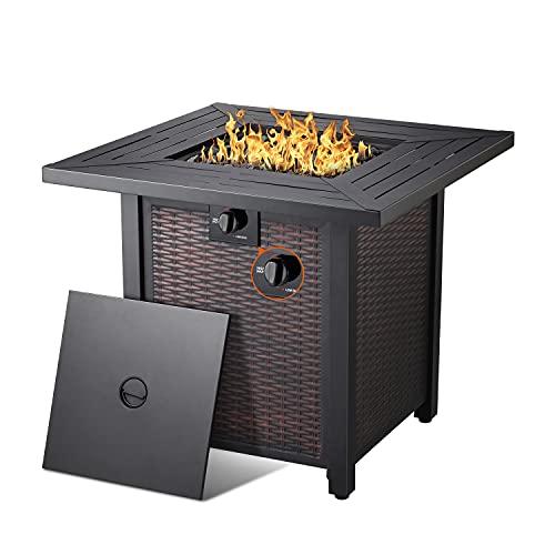 28''Propane Fire Pit Table,50,000 BTU Square Gas Firepits ETL...