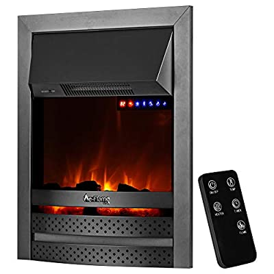 """e-Flame USA Abbotsford 23""""x19"""" LED Electric Fireplace Stove Insert with Remote - 3D Logs and Fire (Black)"""