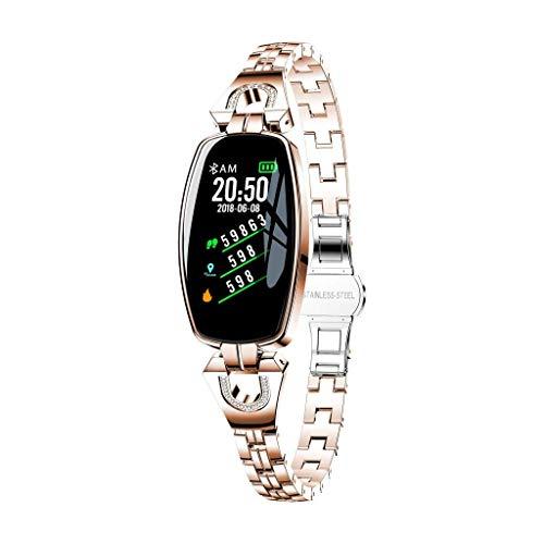 VOLORE Armband Uhr Mit Pulsmesser für H8 Band Unisex Fitness Trackers Wasserdicht Farbbildschirm Smart Echtzeit Herzfrequenz Blutdruck Schlafüberwachung Laufsport Schrittzähler (Rose Gold)