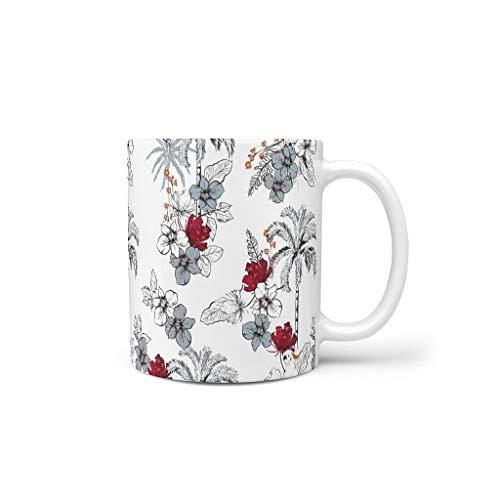 O2ECH-8 11 Unze Pflanze Blume Vogel Wasser Cappuccino Becher mit Griff Porzellan Glossy Tasse - Skizze Chanukka Geschenke, Anzug für Büro verwenden White 330ml