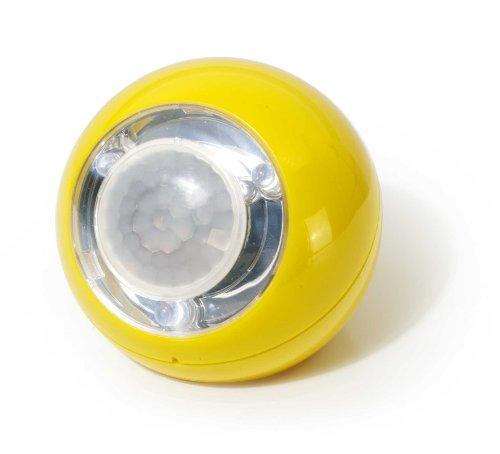 GEV 000759 LED Lichtball LLL728 120 Grad Bewegungsmelder Daemmerungsschalterbatteriebetrieb, inklusive Magnetbefestigung für Innenbetrieb, gelb