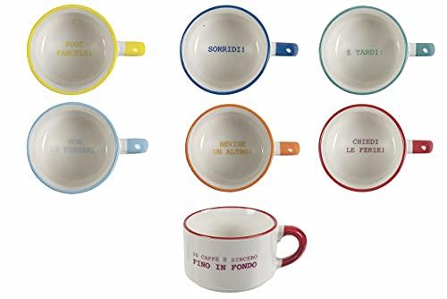 Villa d'Este Home Tivoli 5906747 Caffeomanzia Every Day Mood Set 6 tazzine caffè 90 ml in Bone China, 90 milliliters, Grès