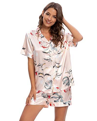 Goso - Pigiama da donna, in raso di seta, con bottoni, in raso, corto e maglietta, pigiama, biancheria da notte rosa L