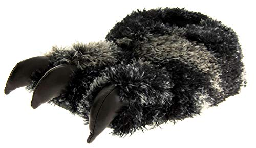 Dunlop Mens Black Faux Fur Monster Claws Novelty Slippers US 9-10 (M)