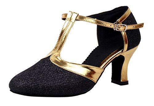 Honeystore Damen's Geschlossene Zehe T-Riemen Glitter Tanzschuhe Schwarz 6 UK