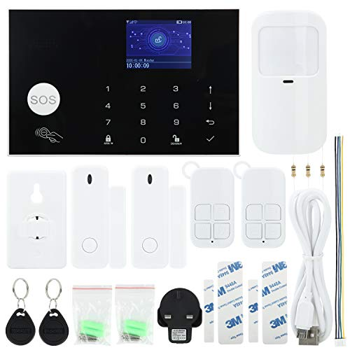 Kabelloses GSM WIFI Hauseinbruch-Sicherheits-Alarmsystem, 433 MHz, iOS Android App, Fernbedienung, LCD-Touch-Tastatur, Haus-Alarmanlage, unterstützt Auto Dial und mit tierfreundlichem Bewegungssensor