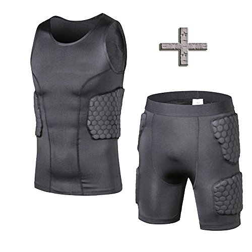 Men's Padded Compression Shirt Training Vest(3-Pad) Sleeveless T-Shirt and Short Set Ribs, Back,Thighs and Buttocks Elbow Knee Protector - Football Soccer Basketball Hockey Protective Gear