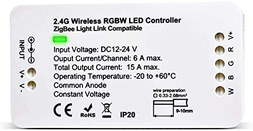 Zigbee Controller RGBW LED Controller DC12-24V Home Smart Zigbee Dimmable Strip Light Controller Compatible with H*U*E Amazon Alexa Echo Plus APP & Voice Control LED Strip Lights
