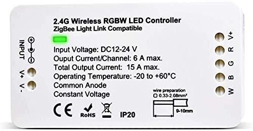 Preisvergleich Produktbild Zigbee Controller RGBW LED Controller DC12-24V Home Smart Zigbee Dimmable Strip Light Controller Compatible with H*U*E Amazon Alexa Echo Plus APP & Voice Control LED Strip Lights