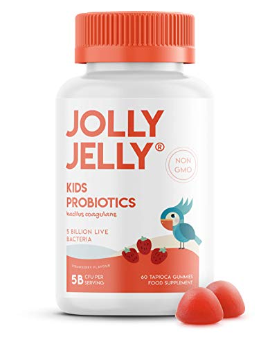 Kids Probiotics Tapioca Gummies - 5B CFU Bacillus Coagulans Per Serving - Non-GMO, Gluten Free, Made in EU, Strawberry Flavour - Age 4+, 60 Vegan Gummies.